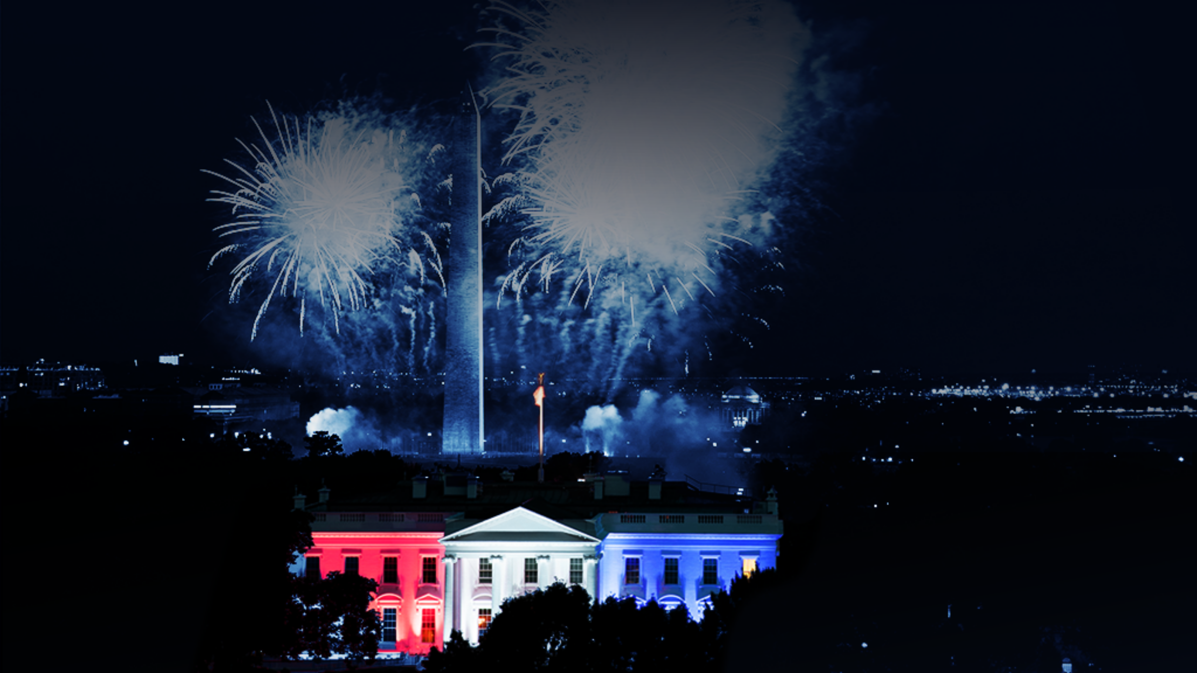 Fireworks behind White House. Everything is tinted navy except White House.