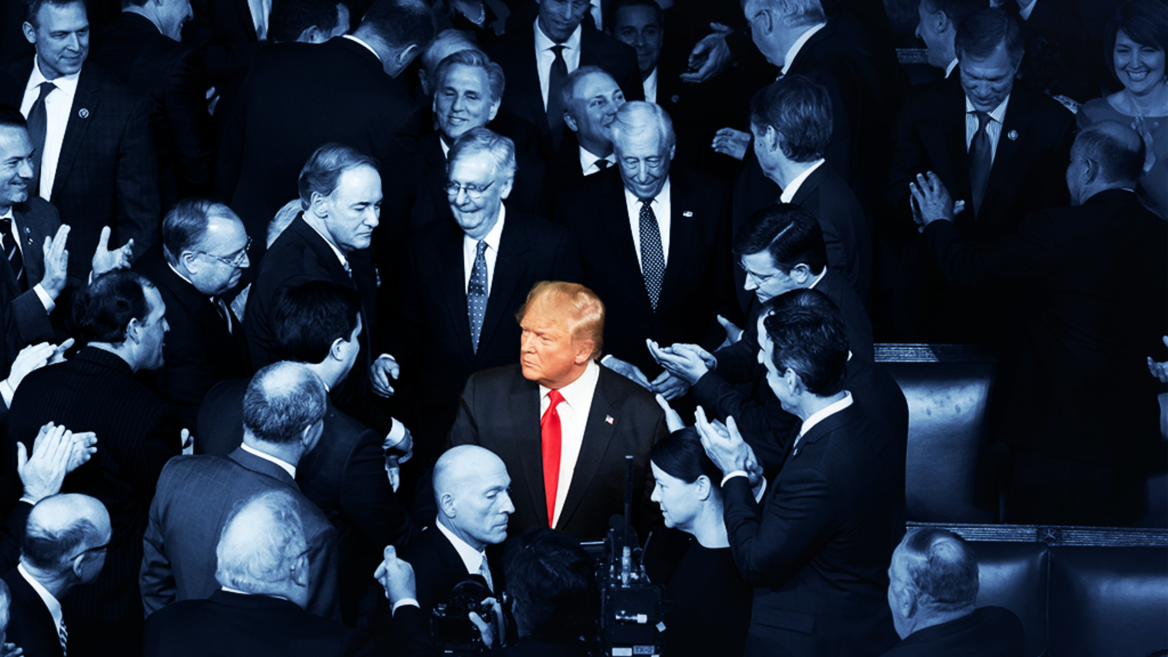 Trump next to Mitch McConnell and others at the State of the Union. Image is tinted navy except Trump.