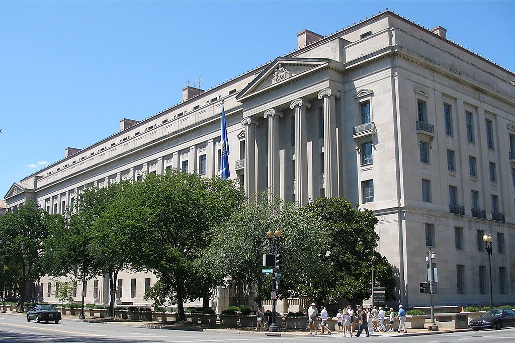 US Department of Justice headquarters building in Washington, DC