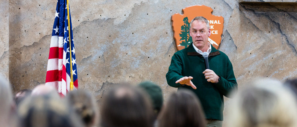 Former Interior Secretary Ryan Zinke speaks at an event for the National Park Service