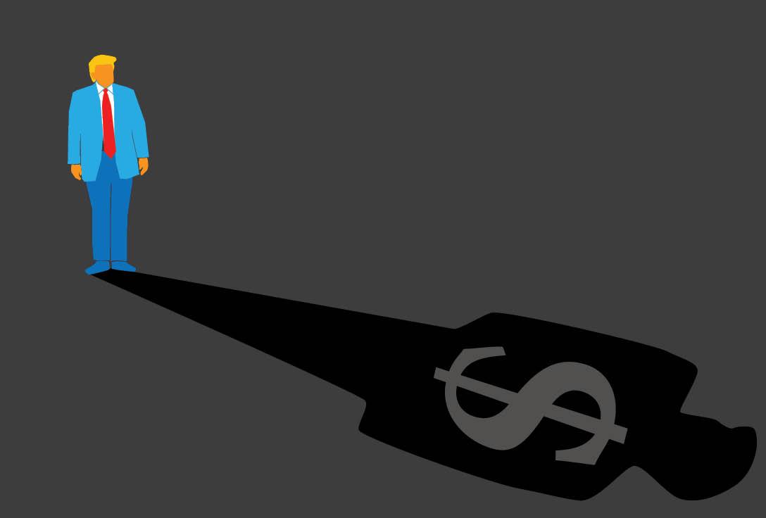 Cartoon image of Donald Trump and his shadow. Shadow contains dark grey US dollar symbol, alluding to dark money